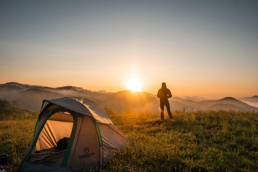 Camping tent and sunset