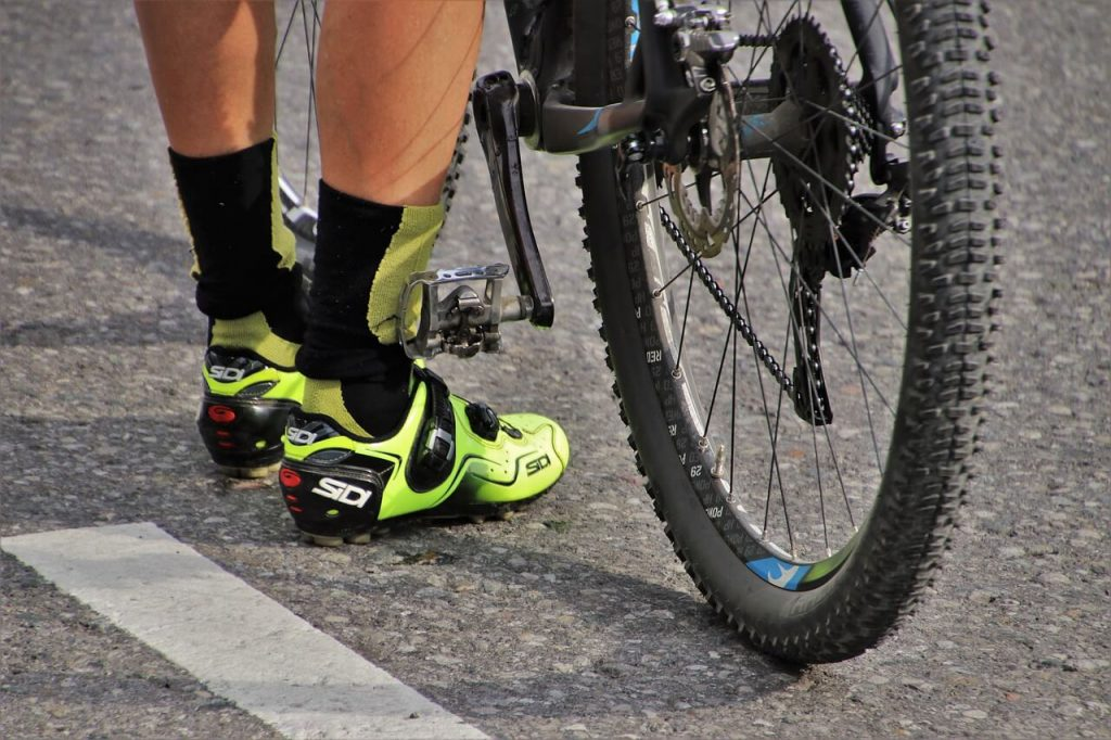 Cyclists shoes and socks