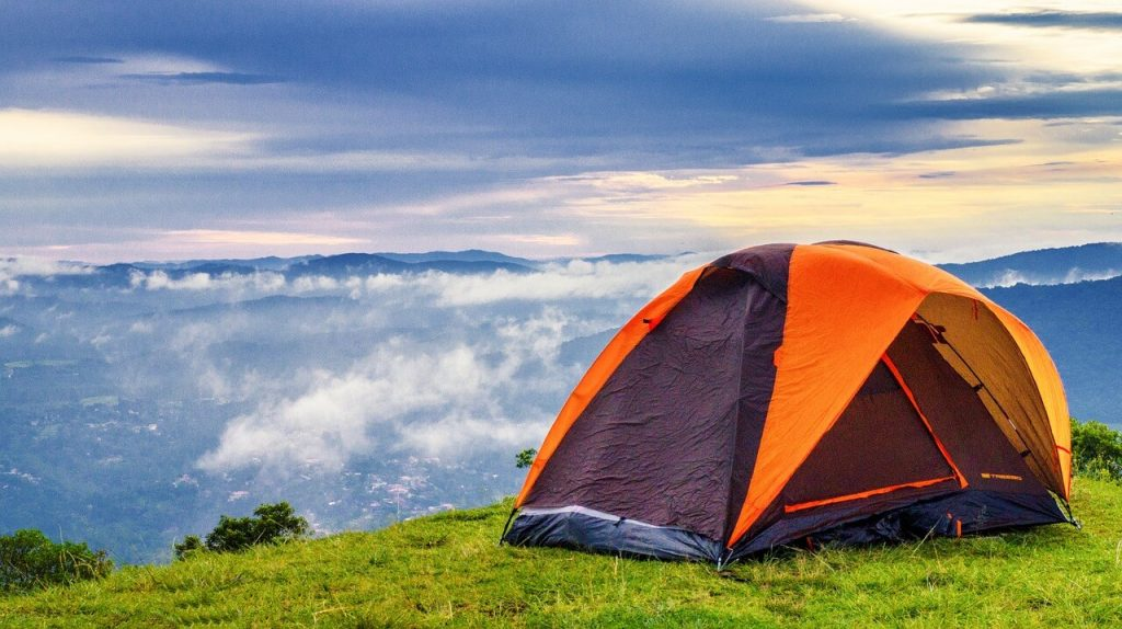 Camping tent next to a beautiful view