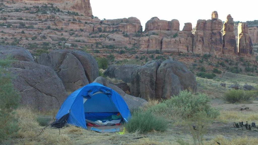 Camping tent during the summer